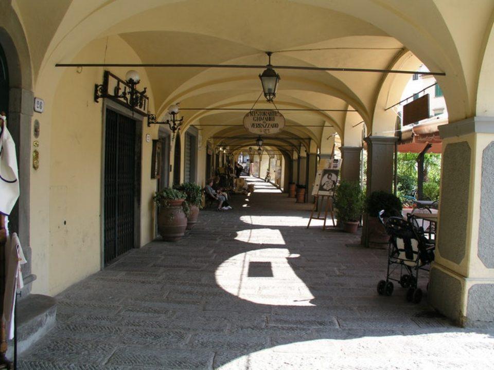 Portico around market square in Greve in Chianti